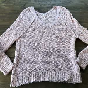 Free People Songbird Boucle Knit V-Neck Sweater S